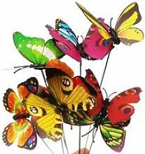 Piquets en forme de papillon, pot de fleurs