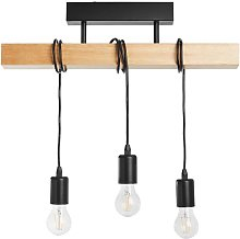 Plafonnier 3 lumières barre bois L55cm