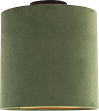 Plafonnier avec abat-jour en velours vert et doré