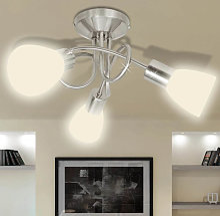 Plafonnier avec abat-jour en verre 3 ampoules E14