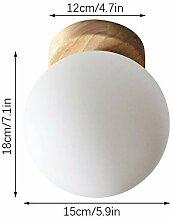 Plafonnier avec base en bois blanc lait boule de