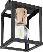 Plafonnier bois naturel lampe spot noir mat