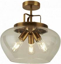 Plafonnier boule 3 ampoules bronze / transparent