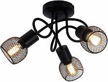 Plafonnier boule ronde salon cage lumière noir