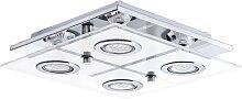 Plafonnier carré 4 lumières métal & verre