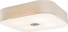 Plafonnier carré blanc 50 cm - Tambour deluxe Jute