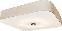 Plafonnier carré blanc 70 cm - Tambour deluxe Jute