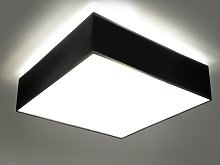 Plafonnier carré design HORAS - PVC - noir