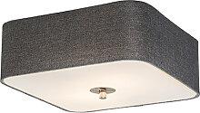 Plafonnier carré gris 30 cm - Tambour deluxe Jute