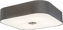 Plafonnier carré gris 50 cm - Tambour deluxe Jute
