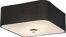 Plafonnier carré noir 30 cm - Tambour deluxe Jute