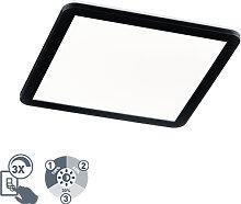 Plafonnier carré noir 40 cm avec LED dimmable en