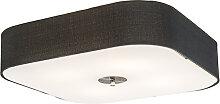 Plafonnier carré noir 50 cm - Tambour deluxe Jute