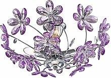 Plafonnier design fleur violet éclairage chrome