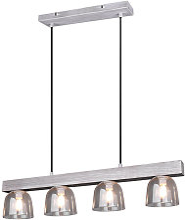Plafonnier en bois gris salon éclairage verre