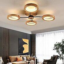 Plafonnier En Bois Massif LED Moderne Dimmable