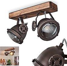 Plafonnier Herford 2 ampoules en métal et bois