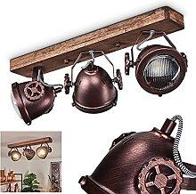 Plafonnier Herford 3 ampoules en métal et bois