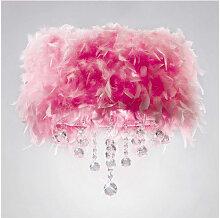 Plafonnier Ibis avec Abat jour rose en plume 3
