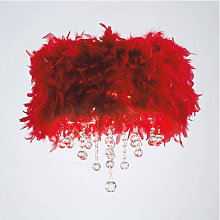 Plafonnier Ibis avec Abat jour rouge en plume 3