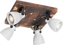 Plafonnier industriel bois avec béton 4 lumières