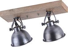 Plafonnier industriel en acier avec bois 2