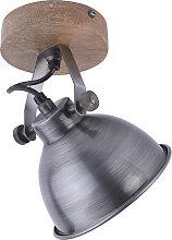 Plafonnier industriel en acier avec bois - Samia