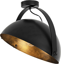 Plafonnier industriel noir avec inclinaison or -