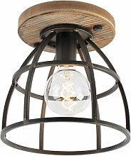 Plafonnier Industriel / Vintage noir avec bois -