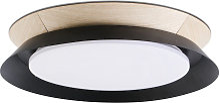 Plafonnier LED bois et noir