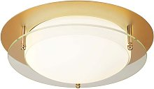 Plafonnier LED lumière or blanc aluminium couloir