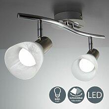 Plafonnier LED spots en verre luminaire salon