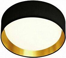Plafonnier luminaire abat-jour doré noir bureau