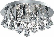 Plafonnier luminaire chrome cristal couloir bureau