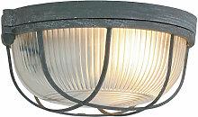 Plafonnier luminaire verre béton gris salon