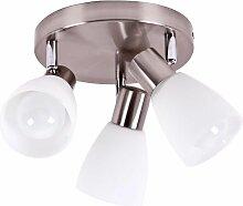 Plafonnier métal verre spots mobiles éclairage
