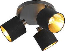 Plafonnier moderne à 3 abat-jours noir et or -