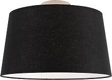 Plafonnier moderne blanc avec abat-jour noir 35 cm