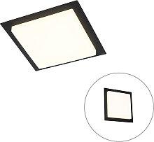 Plafonnier moderne carré noir avec LED IP44 - Lys