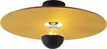 Plafonnier noir abat-jour plat jaune 45 cm - Combi