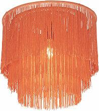 Plafonnier oriental abat-jour rose doré à