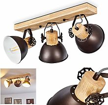 Plafonnier Orny en bois véritable et métal