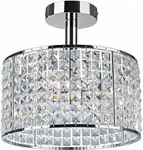Plafonnier Pearl, chrome et cristal