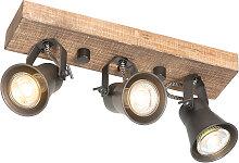 Plafonnier rural noir avec bois 3 lumières - Jelle