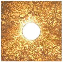 Plafonnier SQUARE blanc 1 ampoule, abat jour or