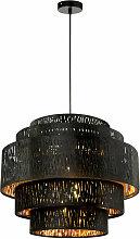 Plafonnier suspendu design noir lampe pendule or