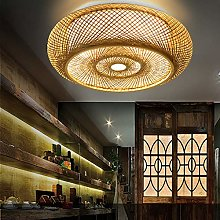 Plafonnier Vintage Plafond Bois Bambou Lanterne
