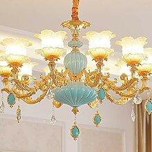 Plafonnier XFse Luxe moderne LED or/zinc bleu +
