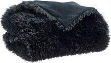 Plaid imitation fourrure noir 140 x 180 cm ALPIN