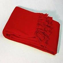 Plaid Jete de Fauteuil 220x240cm Lana rouge